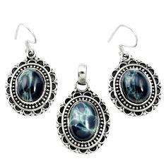 925 silver natural black spider web obsidian pendant earrings set m62076
