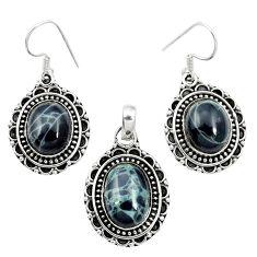 Natural black spider web obsidian 925 silver pendant earrings set m62077