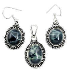 Natural black spider web obsidian 925 silver pendant earrings set m62078