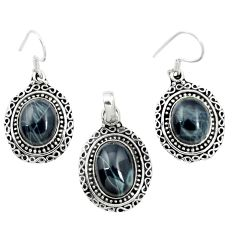 Natural black spider web obsidian 925 silver pendant earrings set m62079