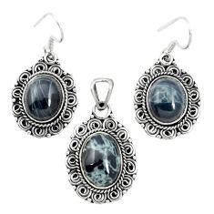 925 silver natural black spider web obsidian pendant earrings set m62080