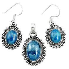 Natural blue apatite (madagascar) 925 silver pendant earrings set m62081
