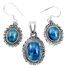 Natural blue apatite (madagascar) 925 silver pendant earrings set m62082