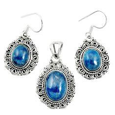 Natural blue apatite (madagascar) 925 silver pendant earrings set m62083