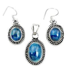 925 silver natural blue apatite (madagascar) oval pendant earrings set m62084