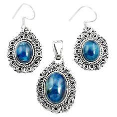 Natural blue apatite (madagascar) 925 silver pendant earrings set m62085