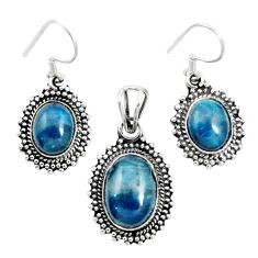 Natural blue apatite (madagascar) 925 silver pendant earrings set m62086