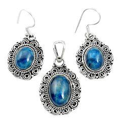 Natural blue apatite (madagascar) 925 silver pendant earrings set m62089