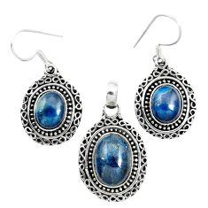 925 silver natural blue apatite (madagascar) pendant earrings set jewelry m62090