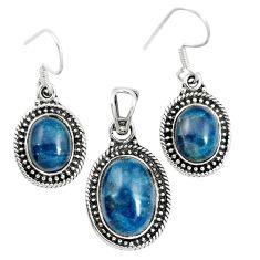Natural blue apatite (madagascar) 925 silver pendant earrings set m62092