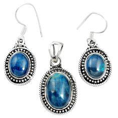 Natural blue apatite (madagascar) 925 silver pendant earrings set m62093