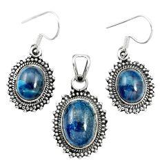 Natural blue apatite (madagascar) 925 silver pendant earrings set m62094