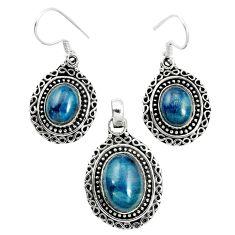 Natural blue apatite (madagascar) 925 silver pendant earrings set m62095