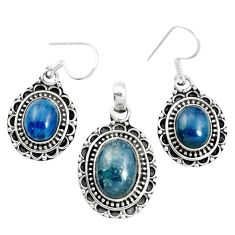 Natural blue apatite (madagascar) 925 silver pendant earrings set m62096