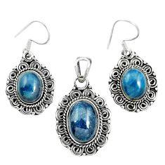 Natural blue apatite (madagascar) 925 silver pendant earrings set m62097