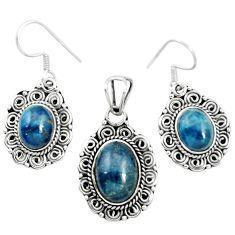 Natural blue apatite (madagascar) 925 silver pendant earrings set m62099