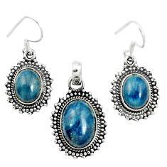 925 silver natural blue apatite (madagascar) pendant earrings set jewelry m62100