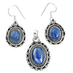 Natural blue kyanite 925 sterling silver pendant earrings set m62101
