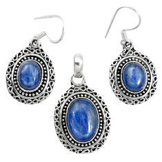 Natural blue kyanite 925 sterling silver pendant earrings set m62102