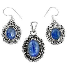 Natural blue kyanite 925 sterling silver pendant earrings set m62103