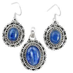 925 sterling silver natural blue kyanite pendant earrings set m62104