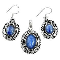 Natural blue kyanite 925 sterling silver pendant earrings set m62105