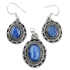 Natural blue kyanite 925 sterling silver pendant earrings set m62106