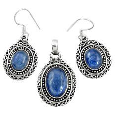 Natural blue kyanite 925 sterling silver pendant earrings set m62107