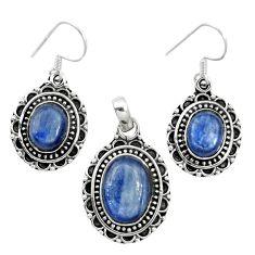 Natural blue kyanite 925 sterling silver pendant earrings set m62108