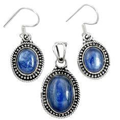 925 sterling silver natural blue kyanite oval pendant earrings set m62109