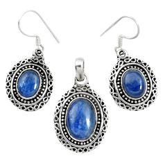 Natural blue kyanite 925 sterling silver pendant earrings set m62110