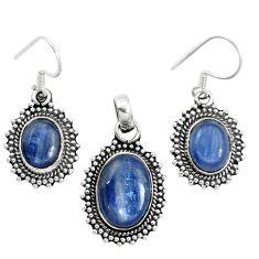 Natural blue kyanite 925 sterling silver pendant earrings set m62111