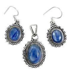 Natural blue kyanite 925 sterling silver pendant earrings set m62112