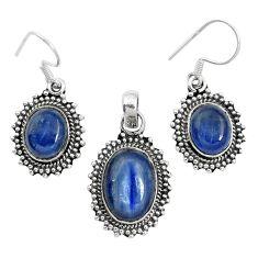 Natural blue kyanite 925 sterling silver pendant earrings set m62113