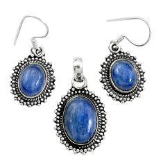 Natural blue kyanite 925 sterling silver pendant earrings set m62114