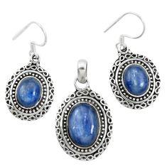 Natural blue kyanite 925 sterling silver pendant earrings set m62115