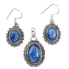 925 sterling silver natural blue kyanite pendant earrings set m62116