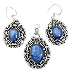 Natural blue kyanite 925 sterling silver pendant earrings set m62117