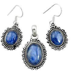 Natural blue kyanite 925 sterling silver pendant earrings set m62118