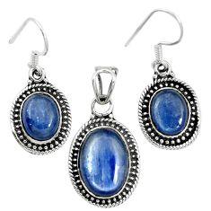Natural blue kyanite 925 sterling silver pendant earrings set m62119