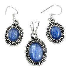 925 sterling silver natural blue kyanite oval pendant earrings set m62120