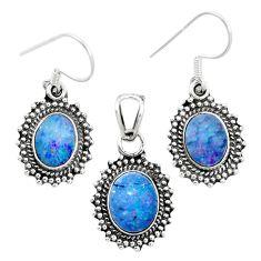Natural blue doublet opal australian 925 silver pendant earrings set m62121