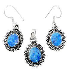Natural blue doublet opal australian 925 silver pendant earrings set m62122
