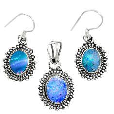 Natural blue doublet opal australian 925 silver pendant earrings set m62123