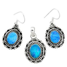 925 silver natural blue doublet opal australian pendant earrings set m62124
