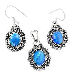 Natural blue doublet opal australian 925 silver pendant earrings set m62125