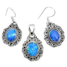 Natural blue doublet opal australian 925 silver pendant earrings set m62127