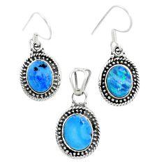 Natural blue doublet opal australian 925 silver pendant earrings set m62128