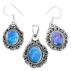Natural blue doublet opal australian 925 silver pendant earrings set m62129