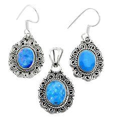 Natural blue doublet opal australian 925 silver pendant earrings set m62130